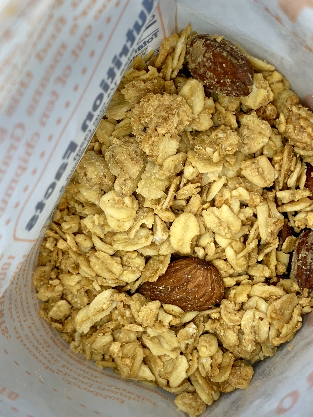 granola with peanut butter, almonds and maple syrup