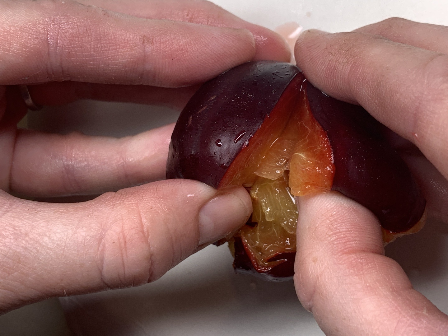 Cutting plums
