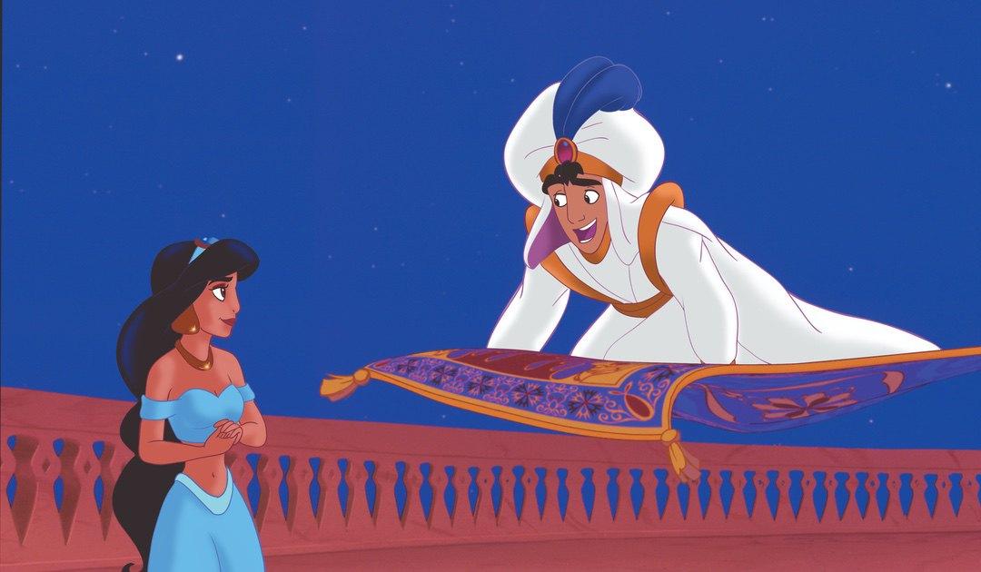 Aladdin and Jasmin on carpet