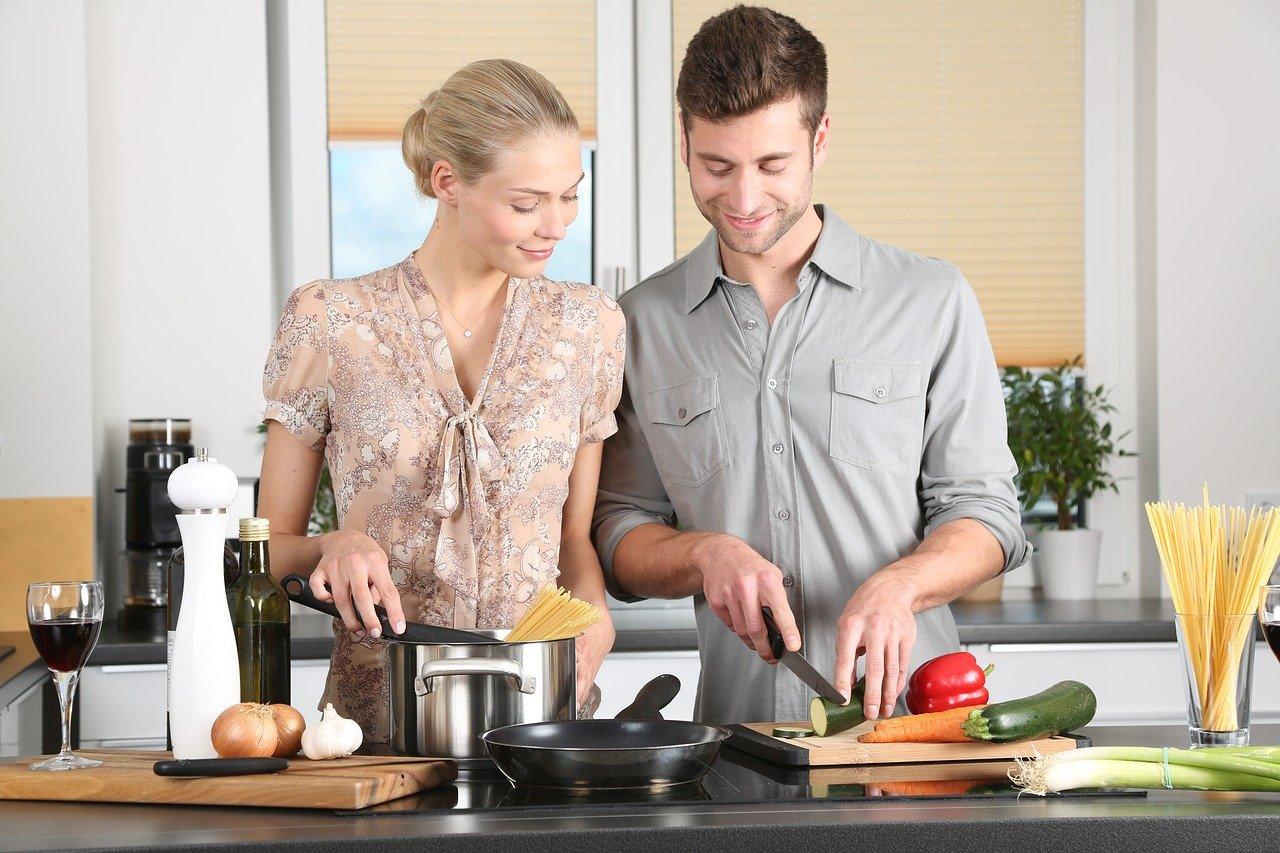 Woman Man Cooking Kitchen