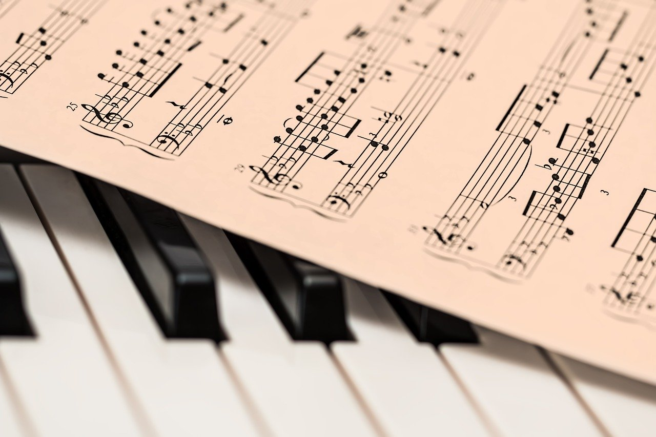 sheet music on piano