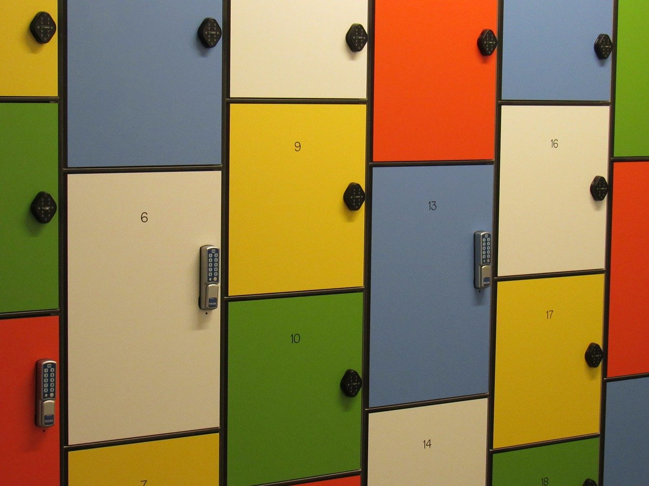 Colorful lockers writing essays