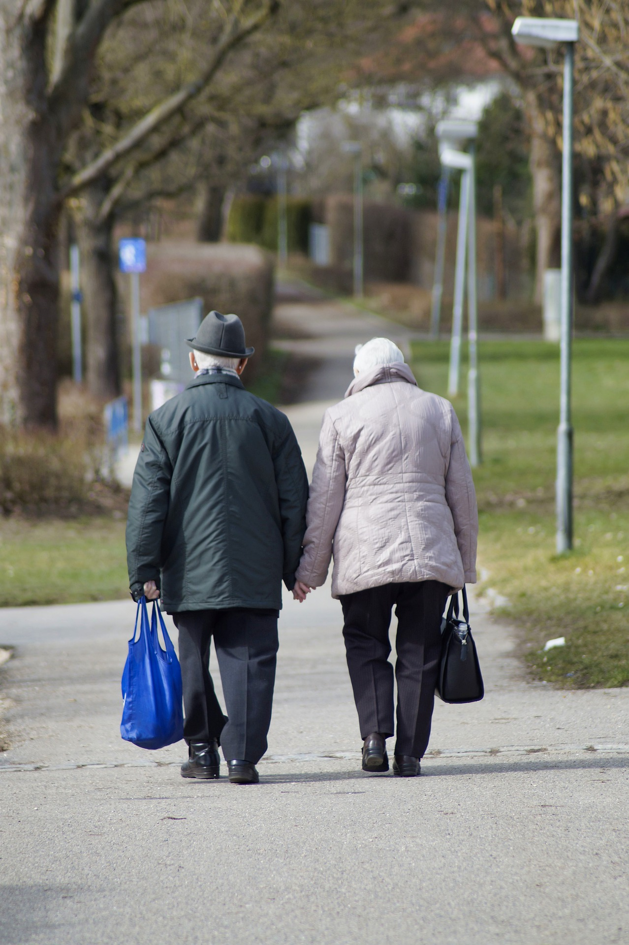 older adults walking and holding hands