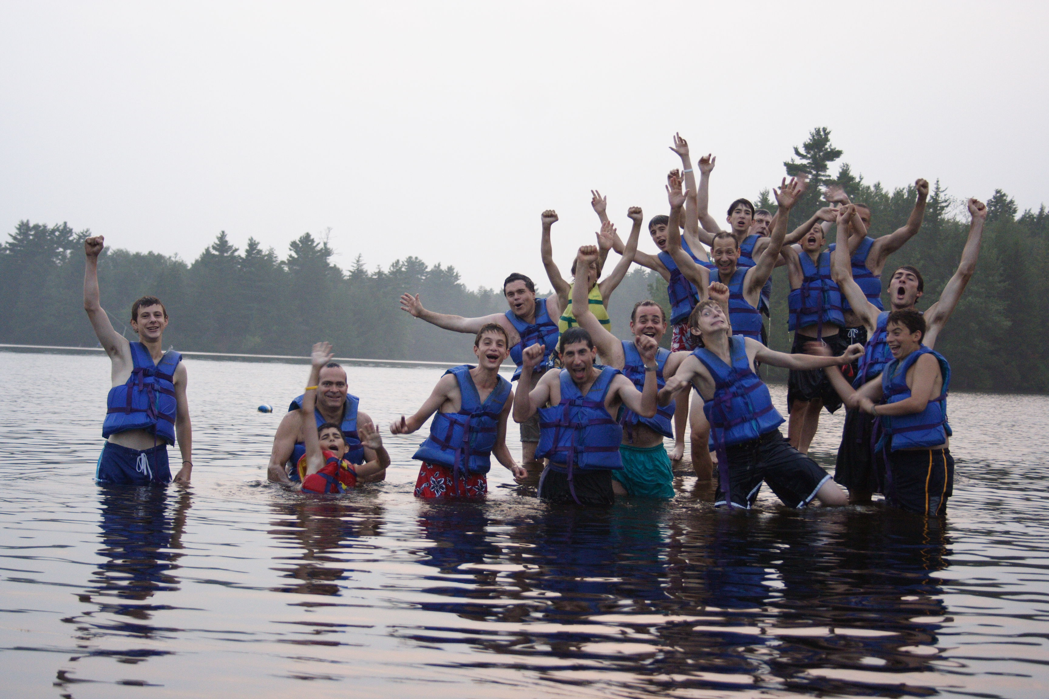 A group of people in the water