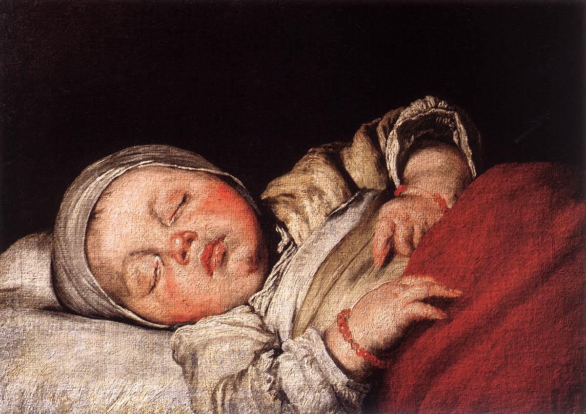 painting of sleeping baby