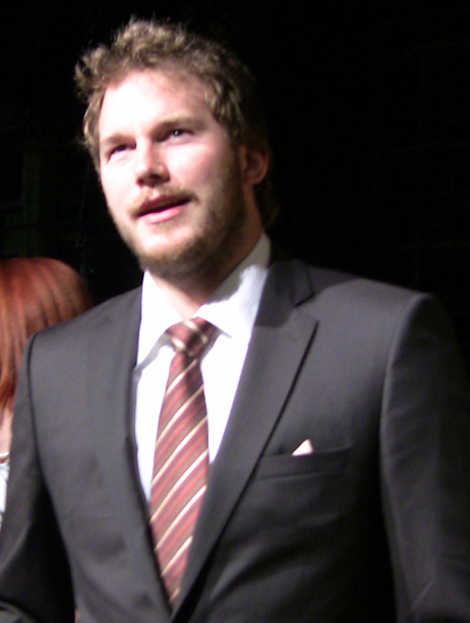 Chris Pratt wearing a suit and tie