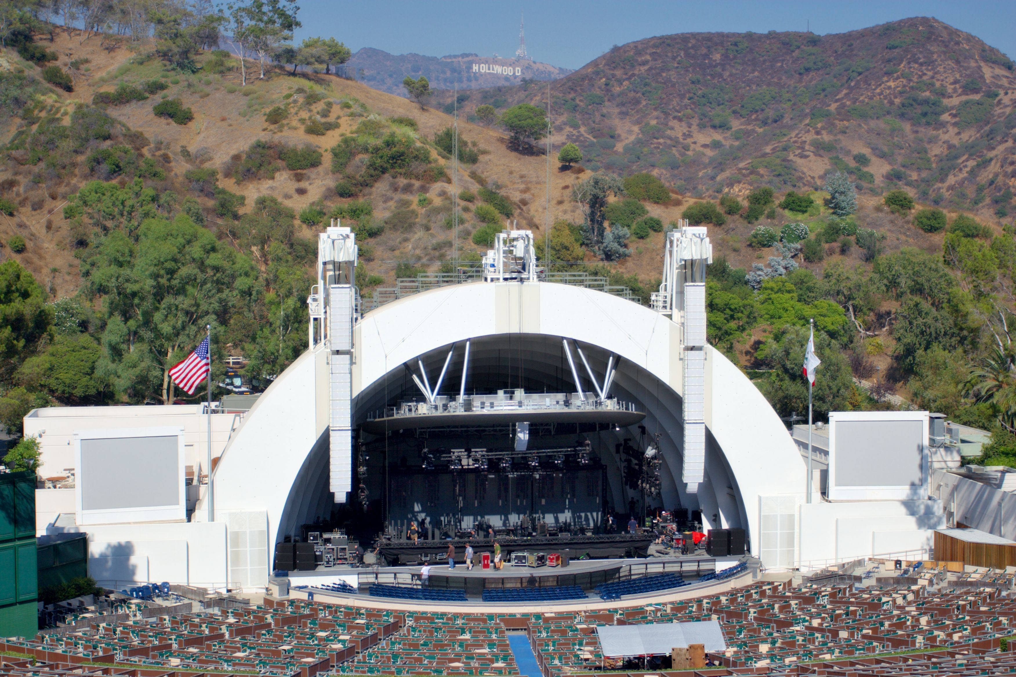 Hollywood Bowl with a mountain in the background